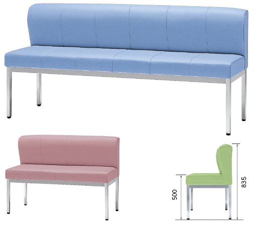 【送料無料】【無料健康相談 対象製品】ロビーチェア(座位不自由者用ベンチ) ペールブルー W1200×D550×H835mm ZHB-12【02P06Aug16】