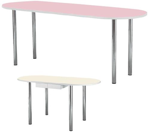 【送料無料】【無料健康相談 対象製品】ナーステーブル(楕円型) アイボリー W1800×D1200×H900mm NAS-1812R【02P06Aug16】
