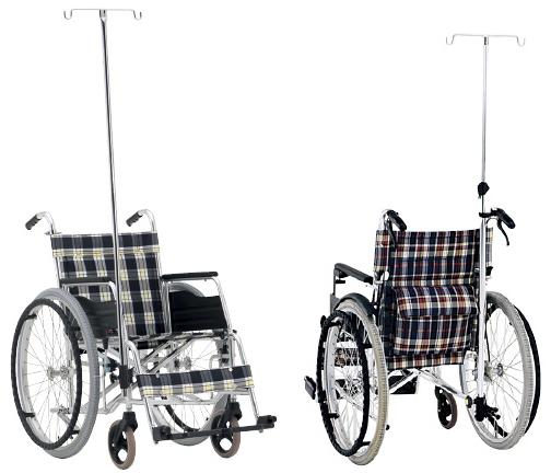 【送料無料】車いす用ガートル架セット  後方セット(アルミ伸縮式)