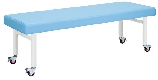 【送料無料】【無料健康相談 対象製品】心電図検査台(キャスター付) ライトブルー W800×L1900×H700mm  TB-178