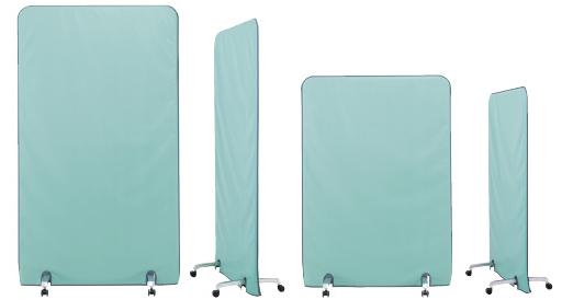 【送料無料】放射線防護用移動式バリア羽衣防護衝立 ソフライト(含鉛) SPN160-35  重量:12kg カラー:グリーン