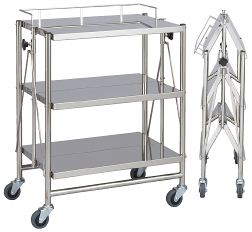 松吉医科器械 折りたたみ式器械台(自立型) 3段・手摺付 MY-1586 サイズ:W600×D450×H800