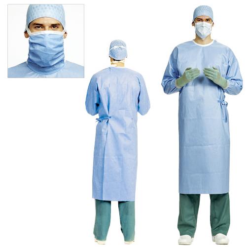 メンリッケヘルスケア サージカルガウン(ブルーライン) 99000513 マスクなし 規格:LL 入数:50枚