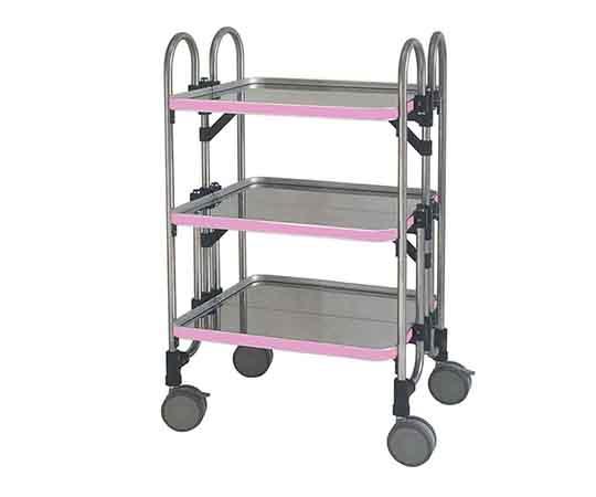 折りたたみ式器械台(3段) HEA-3P(ピンク)