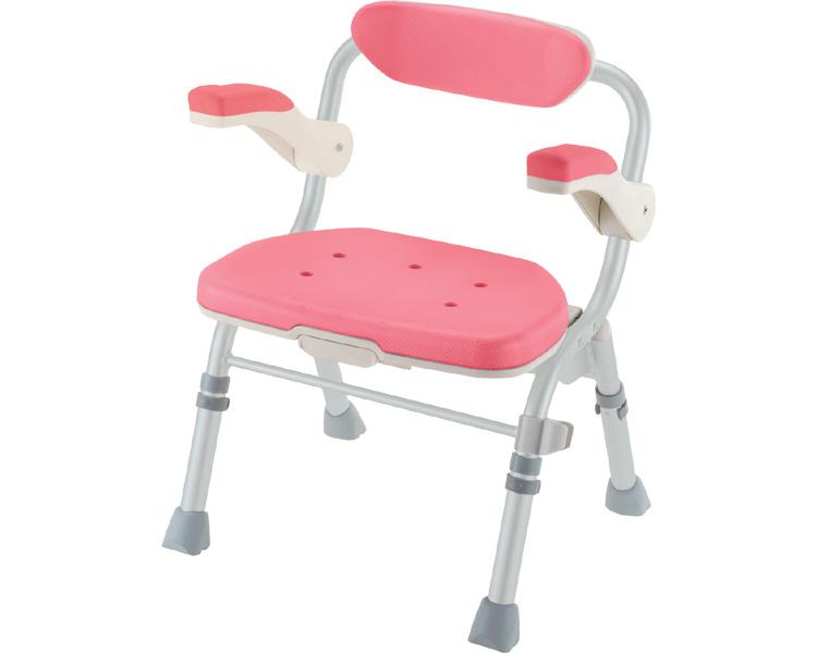 【あす楽】【送料無料】折りたたみシャワーチェアJ型 ピンク