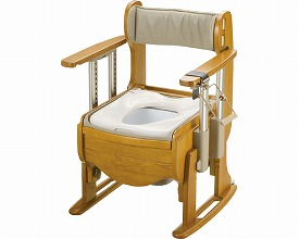 【送料無料】木製トイレ きらく 座優 肘掛昇降 普通便座