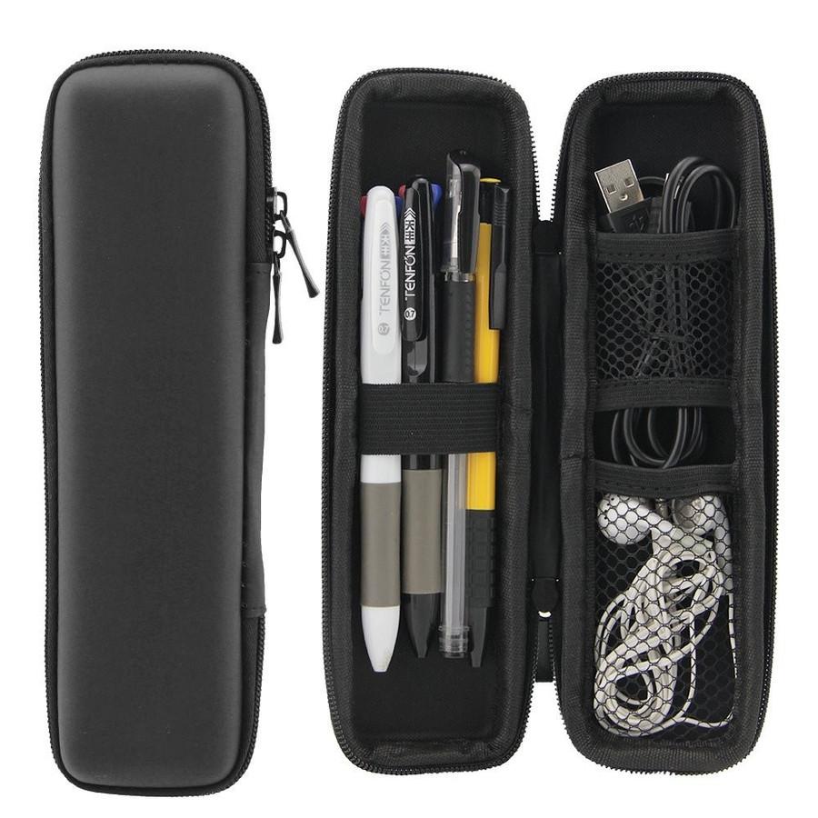 耐久性 軽量 ファッションシンプルなジッパーデザイン ペンケース EVA 筆箱 お歳暮 ブラック 人気商品 シンプル イヤホンケース USB 耐久性あり