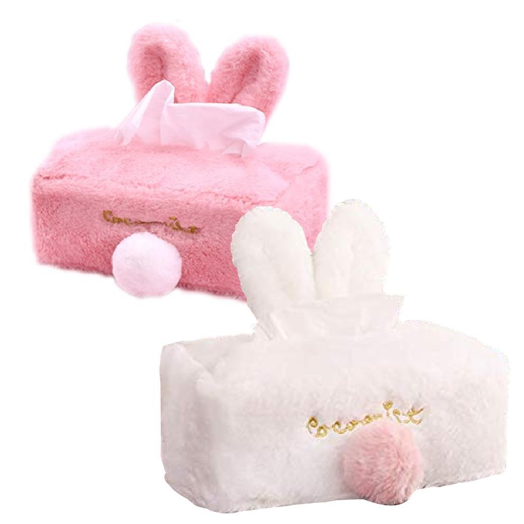 長方形 ティッシュ 詰め替え用 おしゃれ インテリア ティッシュケース ティッシュカバー かわいい ふわふわ ピンク ホワイト 交換無料 ウサギ 2カラー 正規認証品!新規格