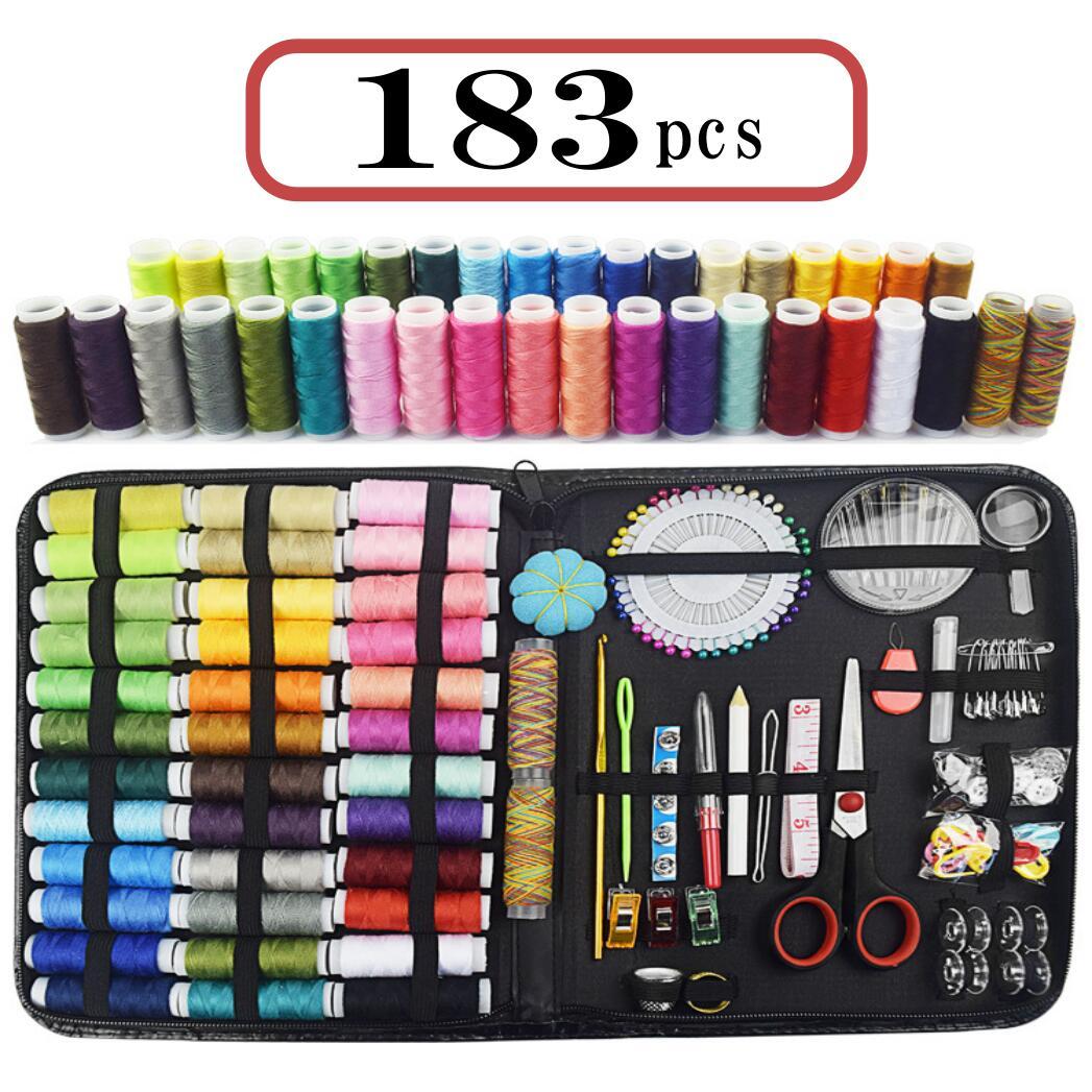 DIYアートソーイング 交換無料 服直し 裁縫練習にも 裁縫セット 流行のアイテム ソーイングセット 収納ケース付き 刺繍キット 糸36色 183ピース