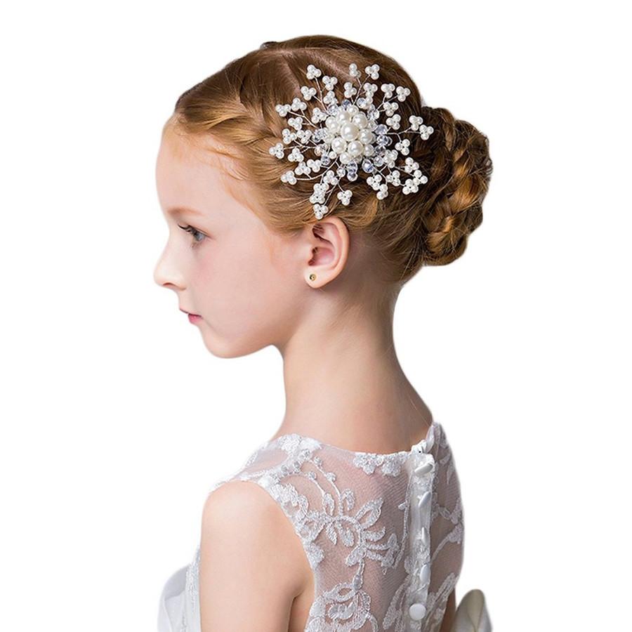 子供 髪飾り フォーマル パーティ ヘアアクセサリー パール ヘアコーム