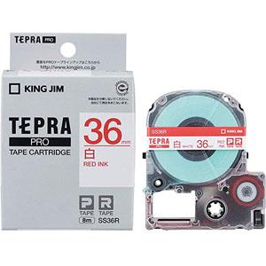 ポイント5倍 送料分までポイントゲット テープカートリッジ テプラPRO SS36R 白ラベル 赤文字 人気商品 36mm テプラ 表示 仕分け オフィス 新品未使用正規品 印 テープ 文房具 目印 整頓 ラベル 整理 カートリッジ 会社 文具