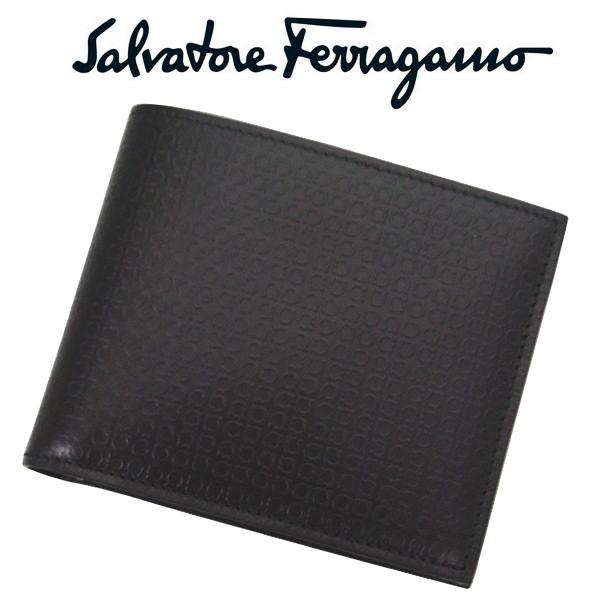 サルバトーレフェラガモ メンズ二つ折れ財布 salvatore ferragamo小銭入れ付き 9148-01-0498921 NERO ブラック 並行輸入品