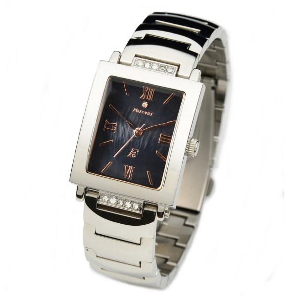 フォーエバー メンズ腕時計 スクエアー型 Forever ブラックシェル文字盤 FG-1205PG ギフト プレゼント