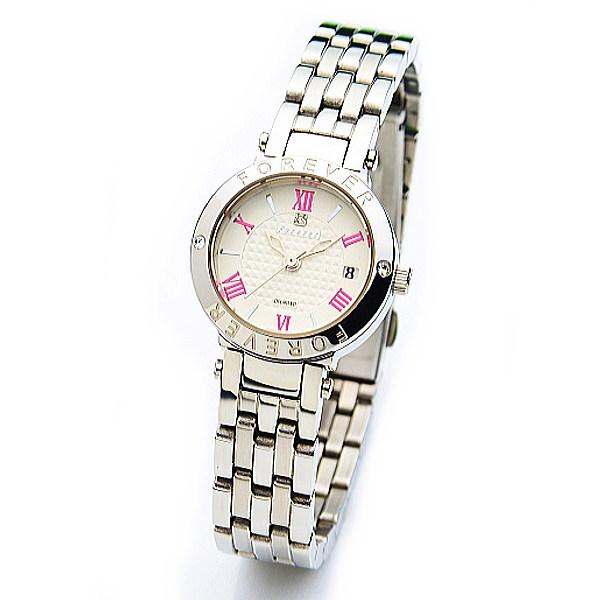 フォーエバー レディス腕時計 Forever シルバー/レッド FL1203-6 ギフト プレゼント ペア時計