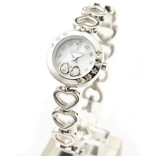 フォーエバー Forever レディス腕時計 スイングチャーム ホワイトシェル文字盤 シルバーカラー FL1207-1