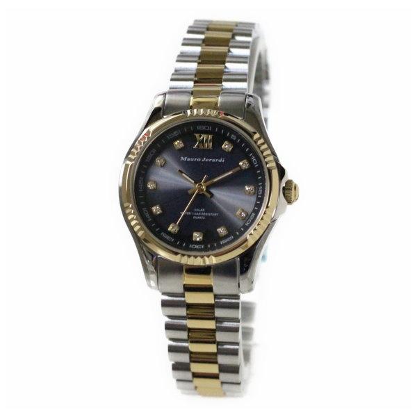 レディス腕時計 ソーラーパワー 5気圧防水 マウロ・ジェラルディ ゴールドコンビ ブラック文字盤 MJ038-2 ギフト プレゼント 贈答品