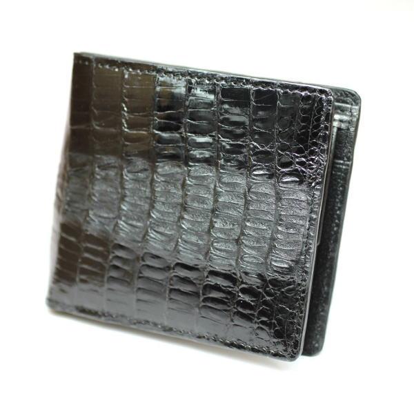 天然本ワニ カイマン 2つ折り財布 ブラック カイマン独特のボンベイが魅力 ギフト プレゼント 誕生日