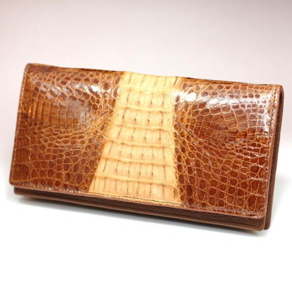 カイマンワニ革独特のウロコ表情(ボンベイ)が魅力の長財布 264SP ブラウン