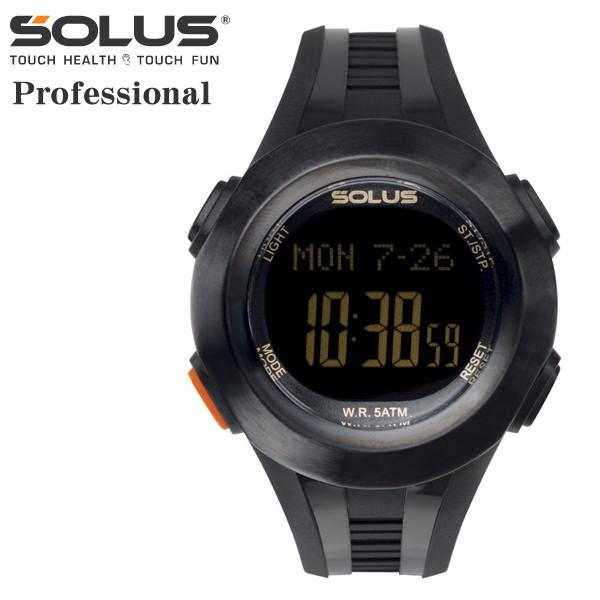 タッチ式心拍計測 腕時計 ランニングウオッチ ソーラス SOLUS メンズ腕時計 PR 101-01 ブラック ギフト プレゼント