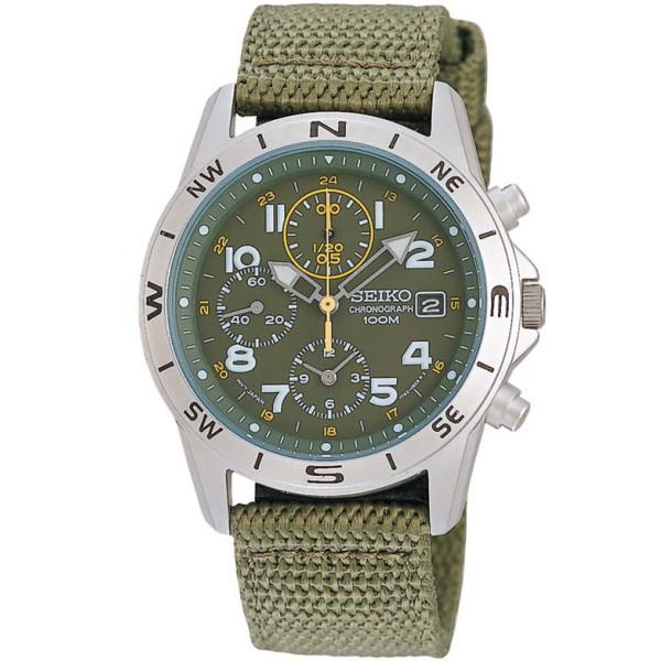セイコー SEIKO ミリタリー メンズ腕時計 1/20秒クロノグラフ モスグリーンフェイス SND377R 【並行輸入品】