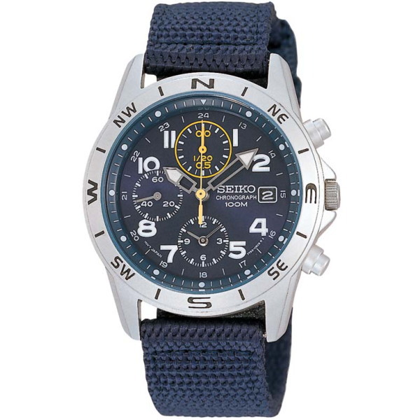 セイコー SEIKO ミリタリーメンズ腕時計 1/20秒クロノグラフマリンブルーフェイス SND379R 【並行輸入品】