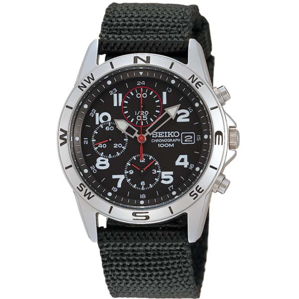 セイコー SEIKO ミリタリーメンズ腕時計 1/20秒クロノグラフ ブラックフェイス SND399P 【並行輸入品】