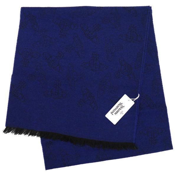 【お買得】 ヴィヴィアン・ウエストウッド マフラー Vivienne Westwood コレクション ウール100% DARK BLUE系 10066-GE-K209, ワンバオ 02d1aea1