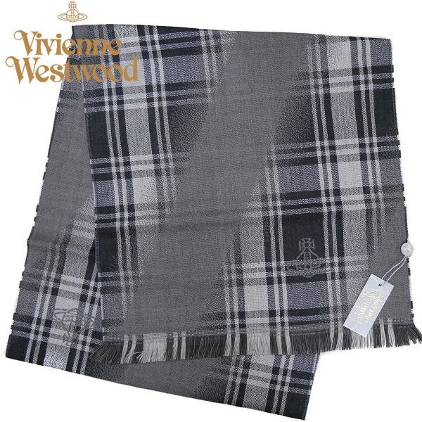 ヴィヴィアン・ウエストウッド マフラー Vivienne Westwood ウール100% グレー系 M9038-C62