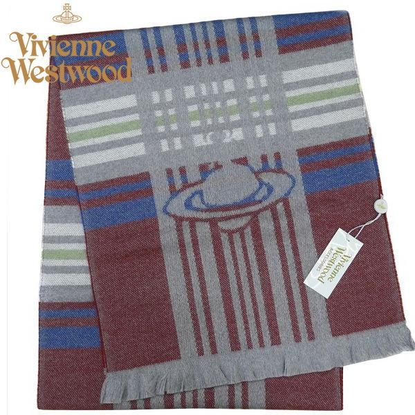 ヴィヴィアン・ウエストウッド マフラー Vivienne Westwood ウール100% ボルドー系 M9060-C60
