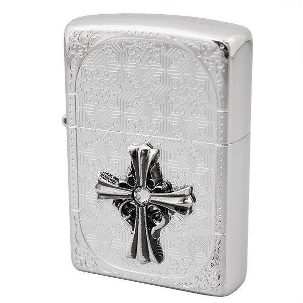 ZIPPO ジッポー ライター クロスメタル貼り エッジング柄 20CMA-S ギフト プレゼンント 誕生日 記念品