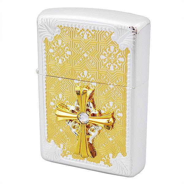ZIPPO ジッポー ライター クロスメタル貼り エッジング柄 20CMD-SG ギフト プレゼンント 誕生日 記念品