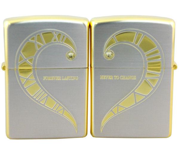 ペアZIPPO FLフオーエバーラブ スペシャルエデション シルバー&ゴールド FLPR-SGS レギュラータイプとレギュラータイプ