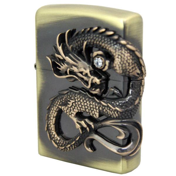 ZIPPO ジッポーライター 龍サイドメタル貼り 真鍮古美加工 DGSV ギフト プレゼント 誕生日 記念品 贈り物