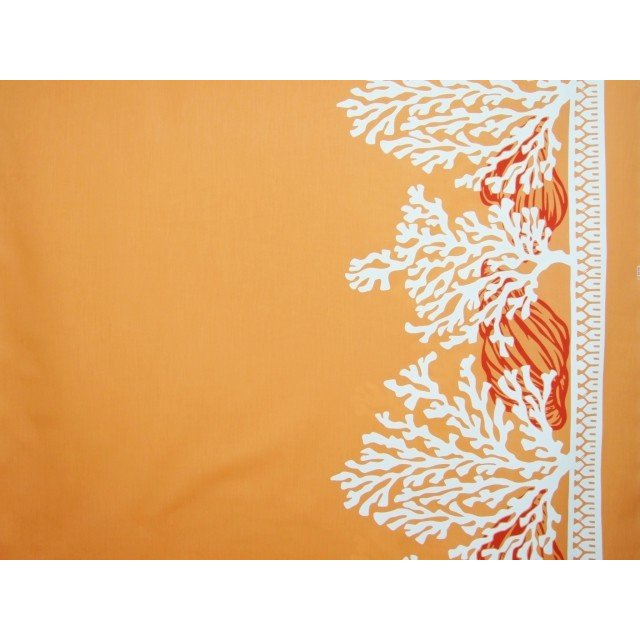ファブリックフェアー開催中 ハワイアン まとめ買い特価 ファブリック 綿ポリ 裾柄 オレンジ コーラル 珊瑚 HFR740 授与