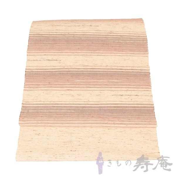 【仕立込み】帯 紬帯 八寸名古屋帯 長井紬カジュアル用 ピンク系 八寸帯 ぜんまい綿織 裂織花絲 新品 未仕立 手織り