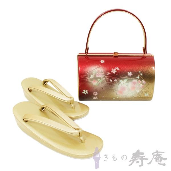 草履 レディース フオーマル 草履バッグセット フリーサイズ 痛くない 歩きやすい 桜 色紙 観世水柄 赤 金 本皮 振袖 成人式 かわいい 礼装用 新品
