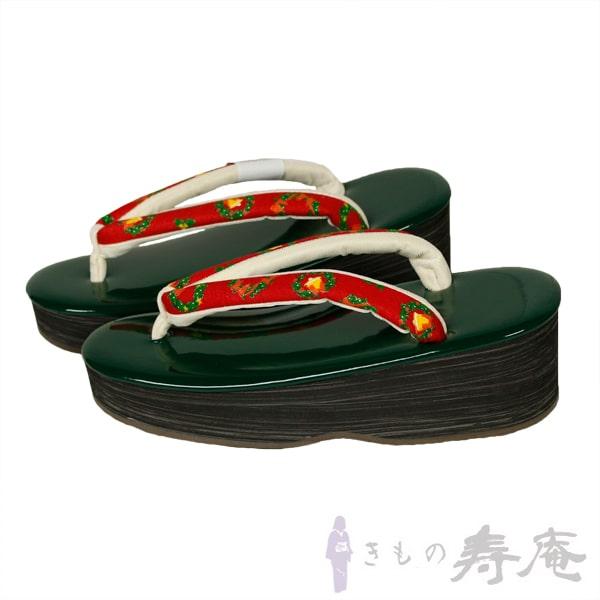 草履 クリスマス オリジナル草履 一点限り クリスマスリーフ ベル グリーン レッド Мサイズ 最高級 皮革草履 新品