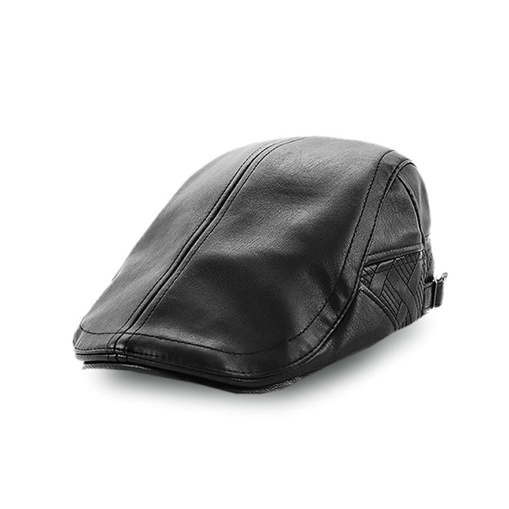 定番 送料無料 おしゃれ且つかっこいい レザーハンチング 帽子 おしゃれ 革 合皮 サイズ かっこいい メンズ LEZAHANCHI 後頭部 調整可能 2020春夏新作 秋冬 ベルト