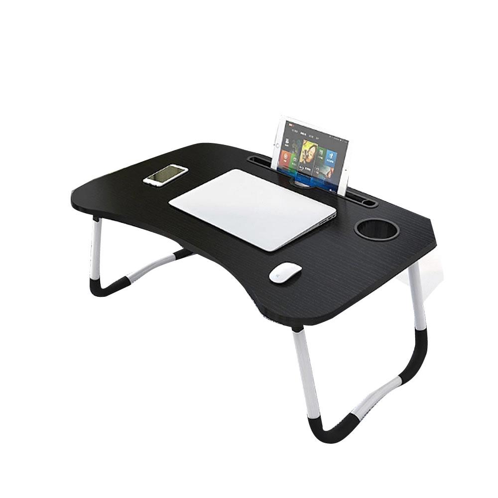 持ち運び簡単 送料無料 折畳式 ラップトップ デスク いつでも送料無料 ブラック 年末年始大決算 ベッド KONHUTE-BK 机 スマホ 家具 ドリンクホルダー搭載 ローテーブル