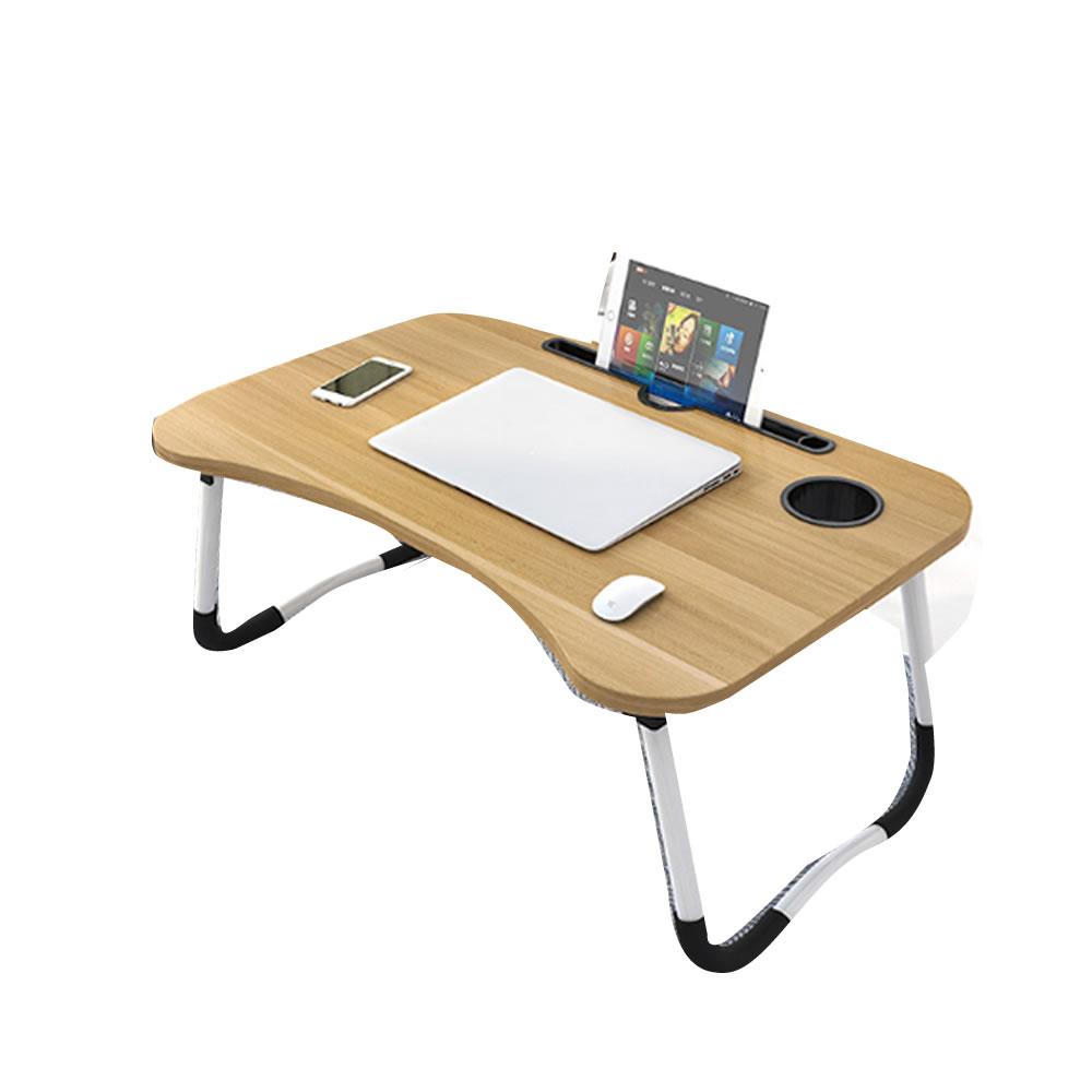 持ち運び簡単 送料無料 折畳式 ラップトップ デスク ブラウン ベッド KONHUTE-BR ローテーブル スマホ ドリンクホルダー搭載 家具 直送商品 机 着後レビューで 送料無料