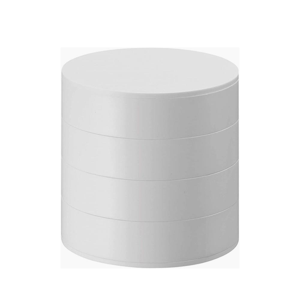 送料無料 毎日身に付ける小物の収納に最適 ジュエリーボックス 蓋付き アクセサリートレイ タワー 約W10XD10XH10cm 新着セール ホワイト JJE4BEHB 格安SALEスタート 4段