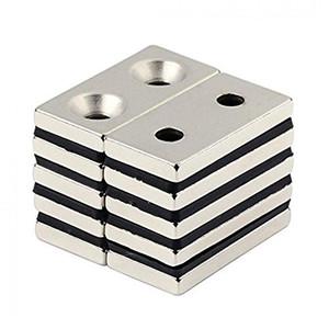 強力マグネット 完全送料無料 角型 ネオジウム磁石 長方形N50磁石 皿穴付きマグネット ネオジウム 40 × 20× RZ-NMG-047 5個セット 両穴:5mm 爆買い新作 5mm