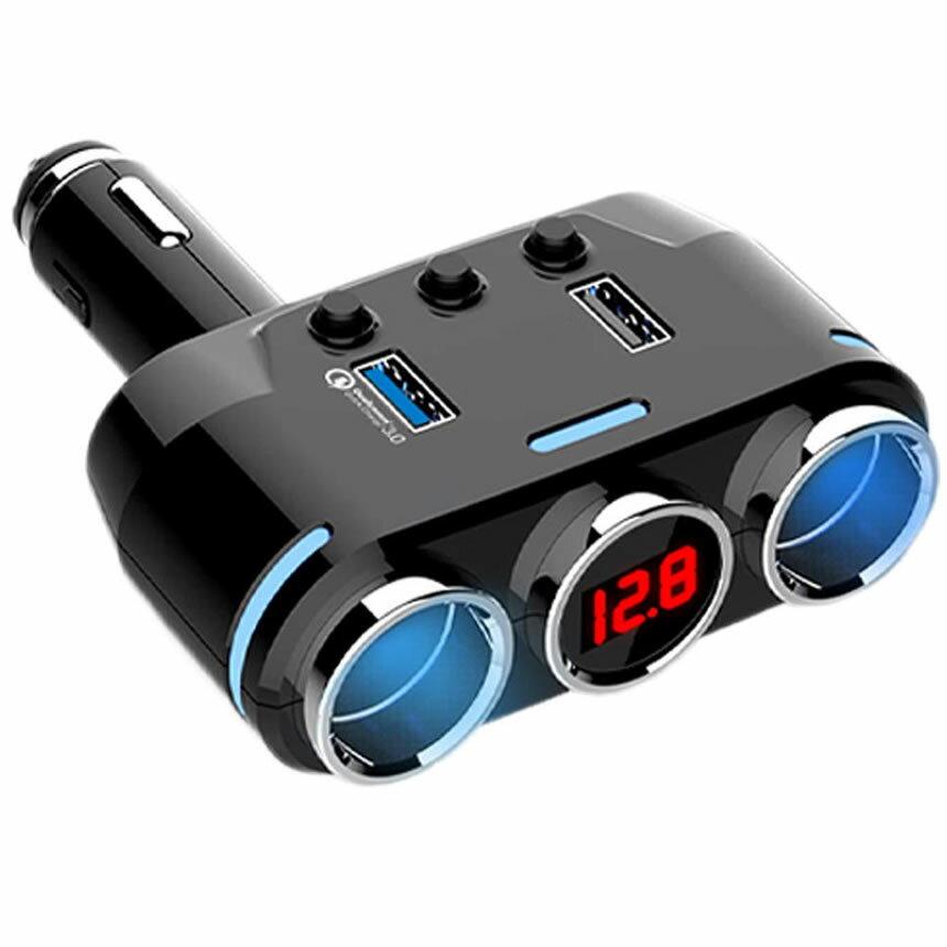 送料無料 シガー ソケット 車載 2連 サービス シガーライター 分配器 USB 3.0 2.0 配線不要 充電 電圧 激安超特価 ブラック 対応 90度 スイッチ 調節 12V 車 表示 TAKICIGA 角度 カー用品 24V