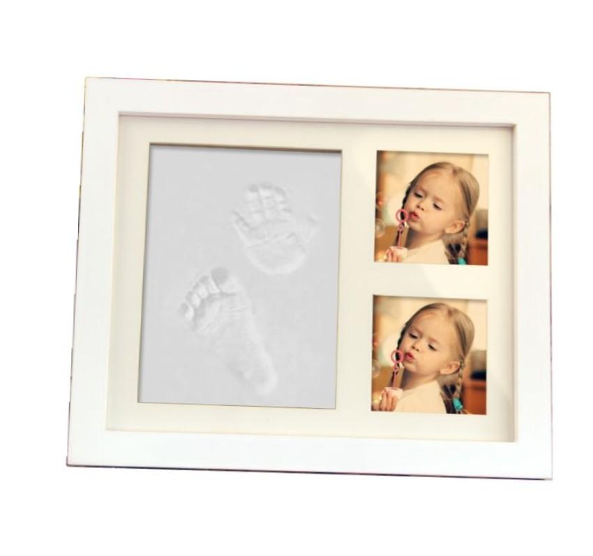 【送料無料】手形 足形 フォトフレーム ホワイト 赤ちゃん 記念 写真 粘土 インテリア ハート 贈り物 プレゼント 思い出 ◇RZ-ANIPHOTO