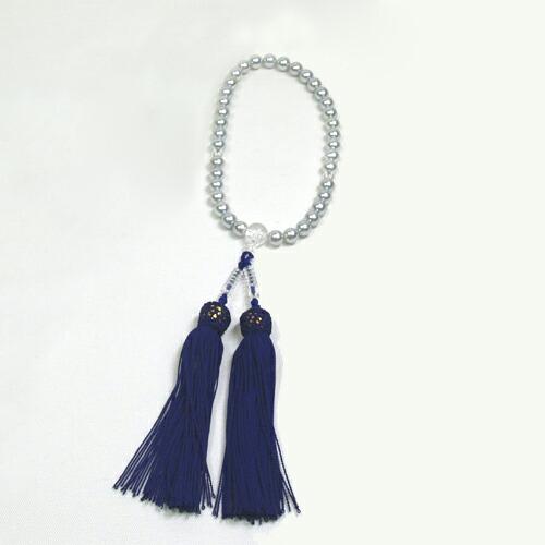 【送料無料※一部地域は除く】 あこや 本真珠 念珠 (染) あこや真珠 6.5-7mm グレー 念珠ケース付き 正絹 数珠 念誦 アコヤパール 水晶