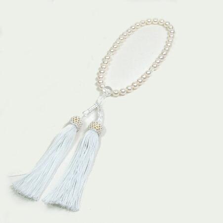 【送料無料※一部地域は除く】 あこや 本真珠 念珠 あこや真珠 念珠 7-7.5mm 念珠ケース付き 正絹 数珠 念誦 アコヤパール 水晶