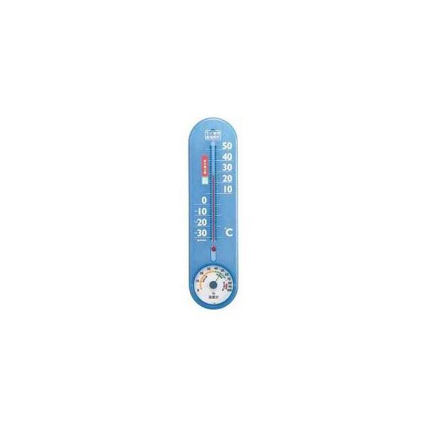(まとめ)EMPEX 生活管理 温度・湿度計 壁掛用 TG-2456 クリアブルー【×5セット】topseller