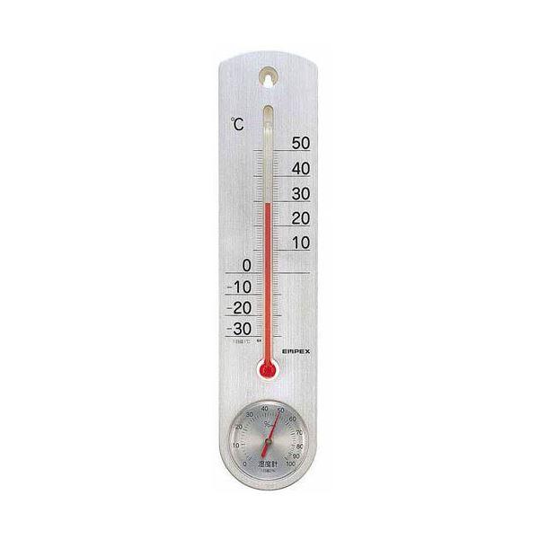 (まとめ)EMPEX 温度・湿度計 くらしのメモリー温・湿度計 壁掛用 TG-6717 シルバー【×5セット】topseller