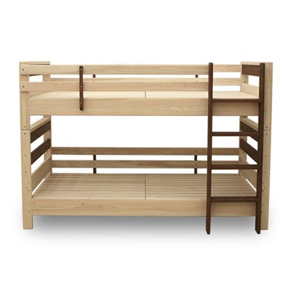 防ダニ 防カビ 抗菌 国産ヒノキ材二段ベッド (フレームのみ) シングル ブラウン 日本製ベッドフレーム 木製 シングル使用可【代引不可】topseller