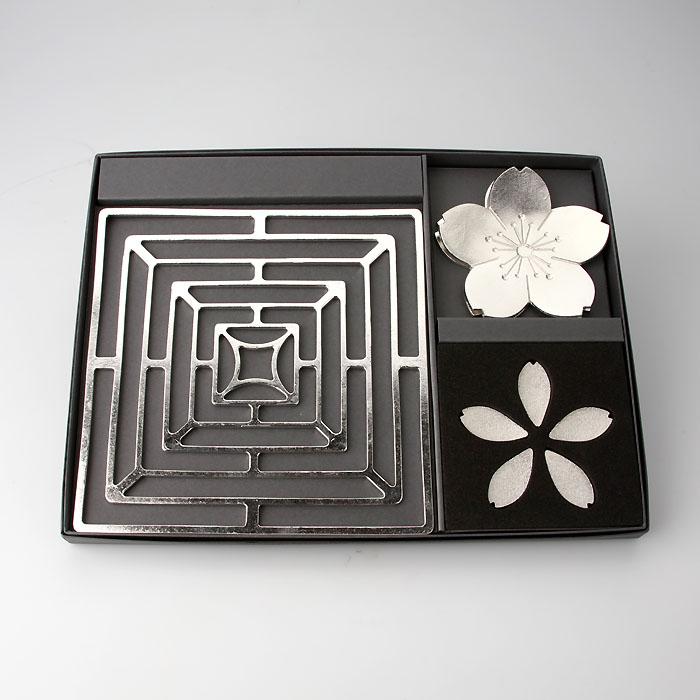 新しい門出ギフト(KAGO-スクエア-M・箸置-さくら5ヶ入・フラワートレー桜2枚セット)公式オンラインショップ・直営店限定
